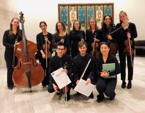 Brandenburg ensembles pose after the 2018 Bach Marathon finale concert at Fourth Pres. Church.