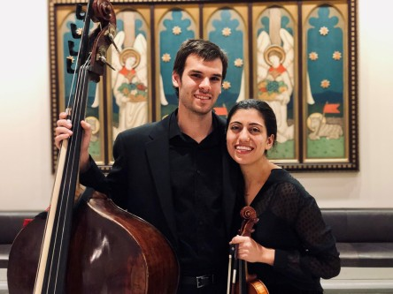 Civic musician Joe Bauer and Liaht Slobodkin pose after the 2018 Bach Marathon finale concert at Fourth Pres. Church.