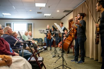 Civic Musicians perform for the senior residents of Wesley Place during the Civic Orchestra's fifth annual Bach Marathon. | Photo by Todd Rosenberg
